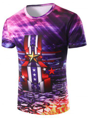 3D Stripe and Medal Printed Round Neck Short Sleeve T-Shirt For Men - Colormix - M