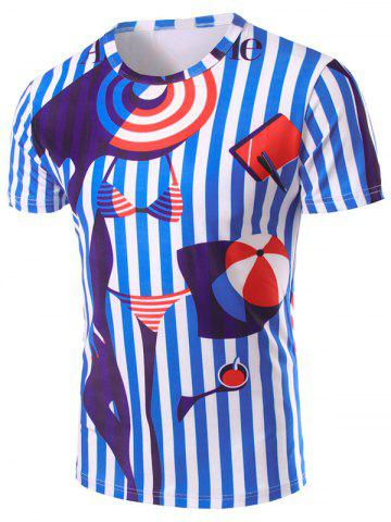 Affordable 3D Stripes Printed Round Neck Short Sleeve T-Shirt For Men COLORMIX 2XL