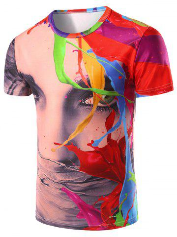 Trendy 3D Color Printed Round Neck Short Sleeve T-Shirt For Men COLORMIX 2XL