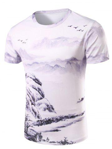 Fashion 3D Ethnic Style Printed Round Neck Short Sleeve T-Shirt For Men COLORMIX XL