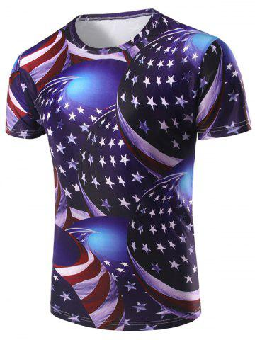 3D Stripe and Star Printed Round Neck Short Sleeve T-Shirt For Men - Colormix - M