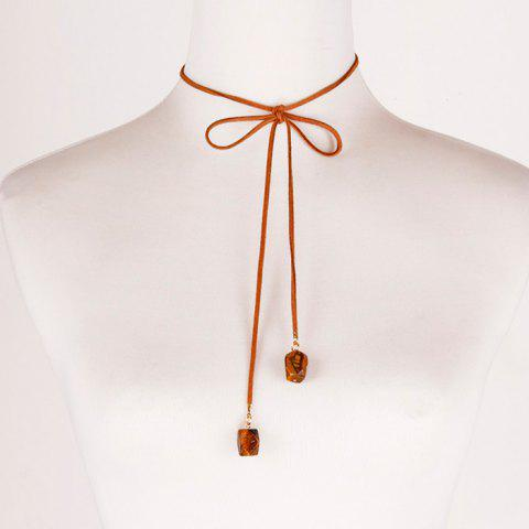 Outfits Vintage Faux Leather Rope Bowknot Necklace