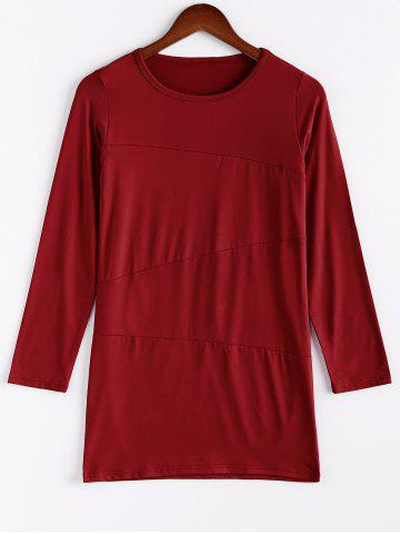 Online Women's Long Sleeve Slim Fit OL Bag Hip Dress Pure Color RED XL