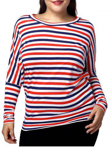 Store Casual Plus Size Batwing Sleeve Striped Women's T-Shirt RED AND WHITE AND BLUE 3XL