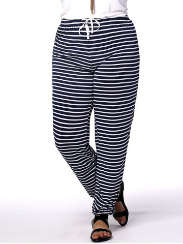 Affordable Casual Plus Size Striped Drawstring Women's Pants