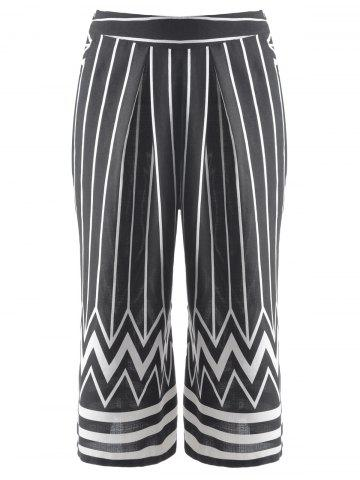 Online Fashionable Striped Zig Zag Cropped Pants For Women BLACK L