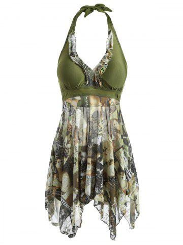 Large ARMY GREEN Women s Halter Figure Print Asymmetrical One Piece Swimsuit