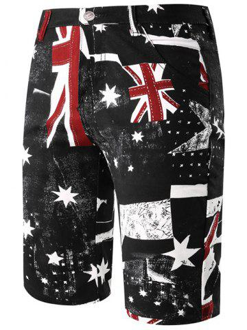 Sale Fashion Straight Leg Union Jack Print Zipper Fly Shorts For Men