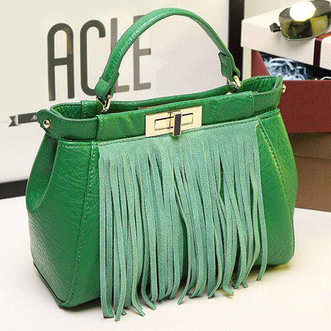 Cheap Stylish Fringe and Hasp Design Tote Bag For Women - GREEN  Mobile