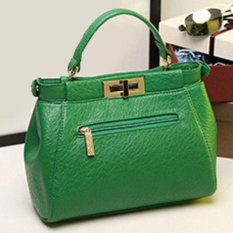 Sale Stylish Fringe and Hasp Design Tote Bag For Women - GREEN  Mobile
