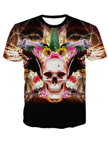 New 3D Personality Round Neck Skulls Floral Print Short Sleeve T-Shirt For Men BLACK XL