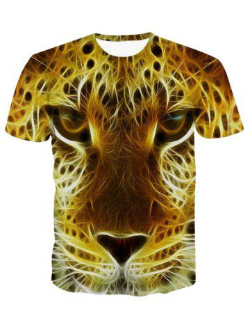 Latest 3D Personality Round Neck Leopard Head Print Short Sleeve T-Shirt For Men COLORMIX XL