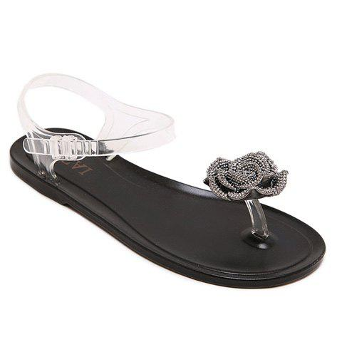 Sweet Solid Color and Flower Design Sandals For Women - Black - 36