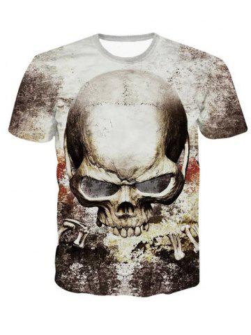 Outfits 3D Personality Round Neck Skulls Printed Short Sleeve T-Shirt For Men COLORMIX 2XL