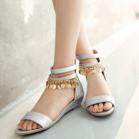 Fancy Casual Metal and Zip Design Sandals For Women - 39 SILVER Mobile