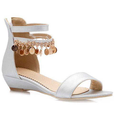 Affordable Casual Metal and Zip Design Sandals For Women - 39 SILVER Mobile
