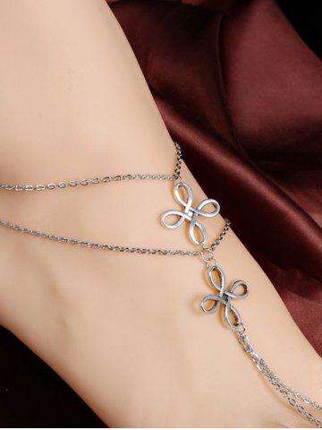 Cheap Elegant Multilayer Hollowed Chinese Knot Anklet - SILVER  Mobile