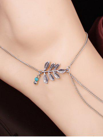 Sale Elegant Carving Leaf Bead Toe Ring Anklet
