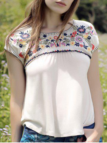 Latest Casual Flower Embroidered Square Cut Women's T-Shirt