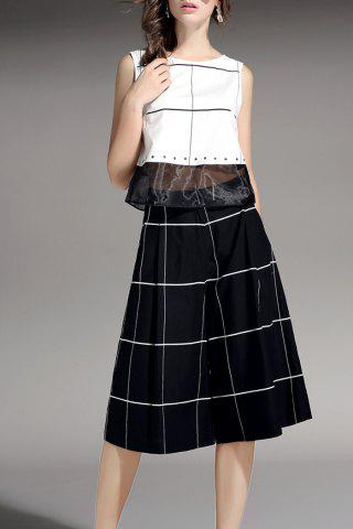 Store Plaid Top and Wide Leg Pants