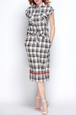 Outfit Polo Collar Plaid Embroidered Slit Dress