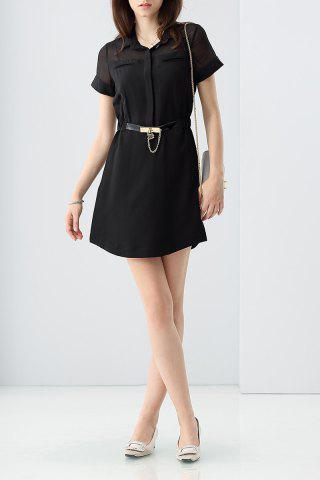 Shop Elastic Waist Belted Mini Dress