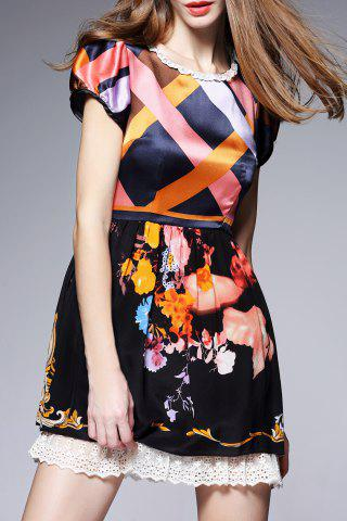 Discount Hit Color Printed Silk Dress