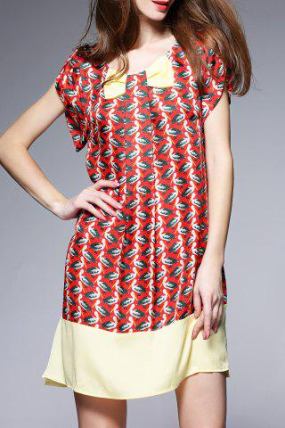 Online Printed Mini Silk Dress
