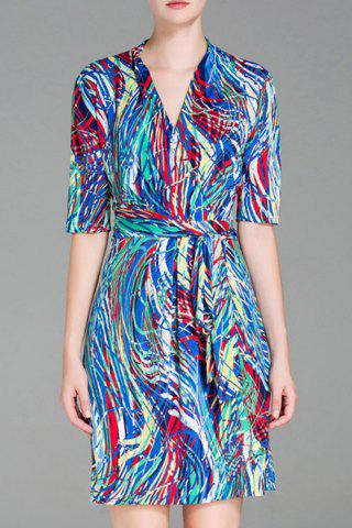 Outfit Half Sleeve Multicolor Crossover Dress
