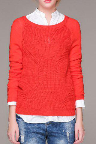 Sale Round Neck Long Sleeve Openwork Jumper