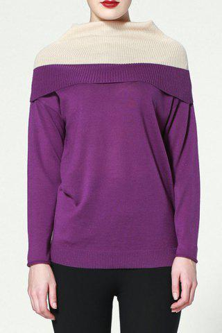 Cheap Fashion Turtleneck Hit Color Sweater