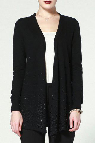 Affordable Long Sleeve Open Front Black Cardigan