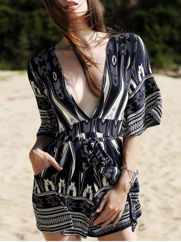 Trendy Fashion Plunging Neck 3/4 Sleeve Printed Romper For Women