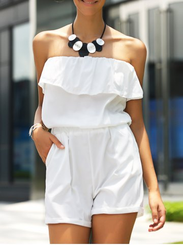 Hot Stylish Strapless Ruffled Solid Color Romper For Women