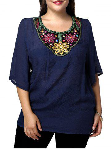 Online Casual Plus Size Flower Embroidered Spliced Women's Blouse