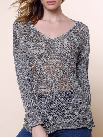 Online Hollow Out Long Sleeve Casual Style V-Neck Acrylic Women's Sweater LIGHT GRAY ONE SIZE