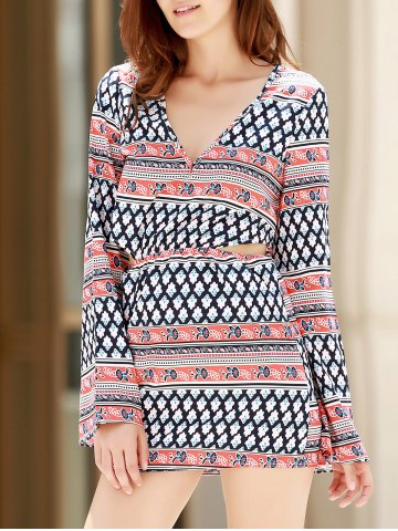 Affordable Plunging Neck Print Long Sleeve Dress - S COLORMIX Mobile