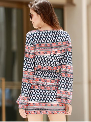 Online Plunging Neck Print Long Sleeve Dress - S COLORMIX Mobile