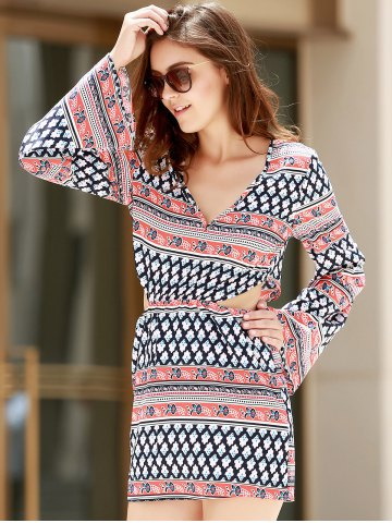 Lady Plunging Neck Print Long Sleeve Dress - S COLORMIX Mobile