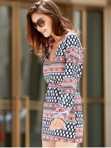 Womens Plunging Neck Print Long Sleeve Dress - S COLORMIX Mobile