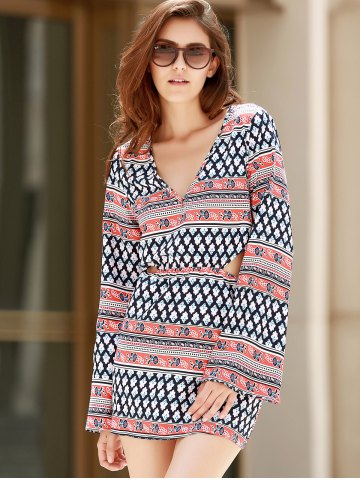 Store Plunging Neck Print Long Sleeve Dress - S COLORMIX Mobile