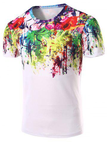 New 3D Abstract Printed Round Neck Short Sleeve T-Shirt For Men COLORMIX 2XL