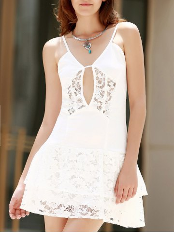 Trendy Lace Flounce Slip Club Dress - L WHITE Mobile