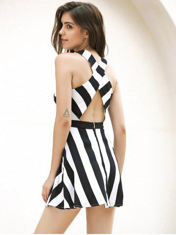 Store Vintage Striped Hollow Out Mini Dress - XL WHITE AND BLACK Mobile