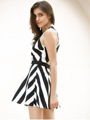 Fancy Vintage Striped Hollow Out Mini Dress - XL WHITE AND BLACK Mobile