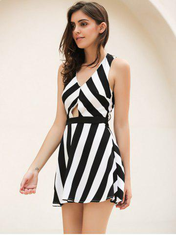 Affordable Vintage Striped Hollow Out Mini Dress - XL WHITE AND BLACK Mobile