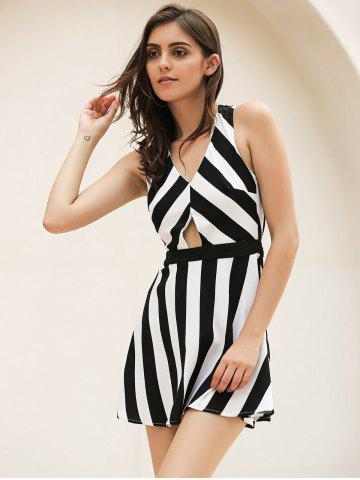 Discount Vintage Striped Hollow Out Mini Dress - XL WHITE AND BLACK Mobile