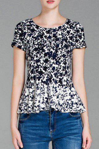 Short Sleeve Leaf Print Peplum Top - Blue And White - S