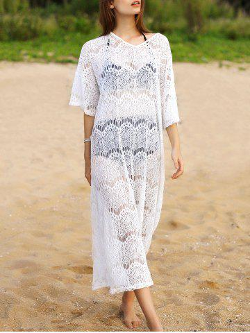 Outfit V-Neck Sheer Lace Maxi Beach Cover Up Dress