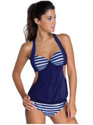 Halter Hollow Out Striped Blouson Tankini Set - DEEP BLUE